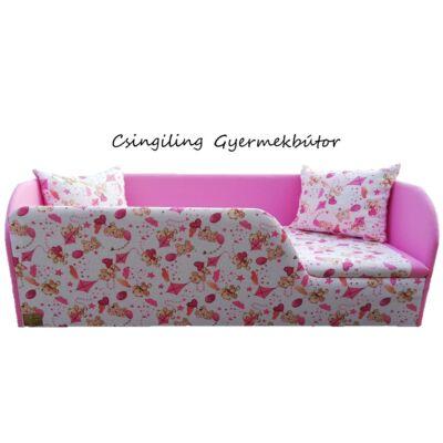"""""""SUNSHINE"""" KÁRPITOS leesésgátlós gyerekágy - 63x150 cm-es fekvőfelülettel: Rózsaszín - rózsaszín macis"""