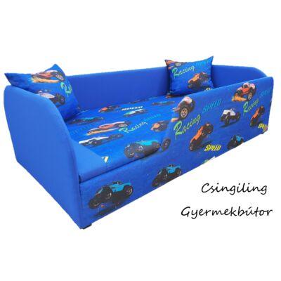 """""""SUNSHINE"""" KÁRPITOS leesésgátlós gyerekágy - 63x150 cm-es fekvőfelülettel: Királykék - kék racing"""