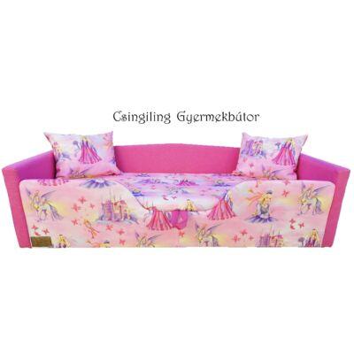 """""""SUNSHINE"""" KÁRPITOS leesésgátlós gyerekágy - 63x150 cm-es fekvőfelülettel: Pink - királylányos"""