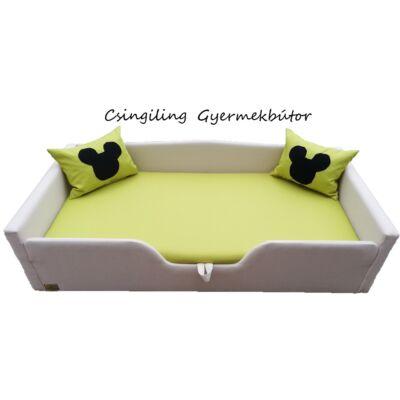 Sunshine leesésgátlós kárpitos gyerekágy: bézs kiwi zöld
