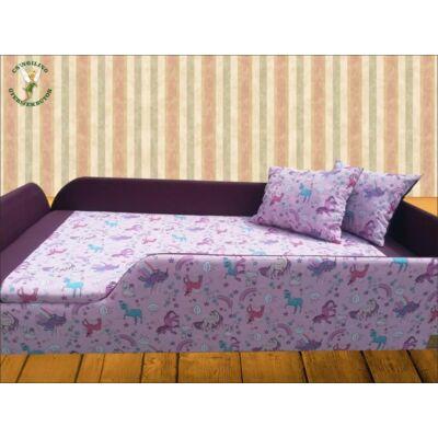 """""""SUNSHINE"""" KÁRPITOS leesésgátlós gyerekágy - 83x165 cm-es fekvőfelülettel: sötét lila-Pónis (unikornis)"""