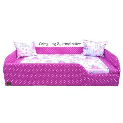 """""""SUNSHINE"""" KÁRPITOS leesésgátlós gyerekágy - 83x165 cm-es fekvőfelülettel: Pink pöttyös keret - királylányos fekvő"""