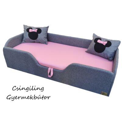 Wextra leesésgátlós kárpitos gyerekágy: szürke len puncs rózsaszín Minnie