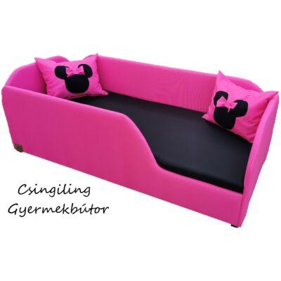 WEXTRA KÁRPITOS leesésgátlós gyerekágy - 63x150 cm-es fekvőfelülettel, CLASSIC kerettel, középső fellépővel:  Pink keret - fekete fekvő - AJÁNDÉK MINNIE PÁRNÁKKAL, KÉSZLETRŐL