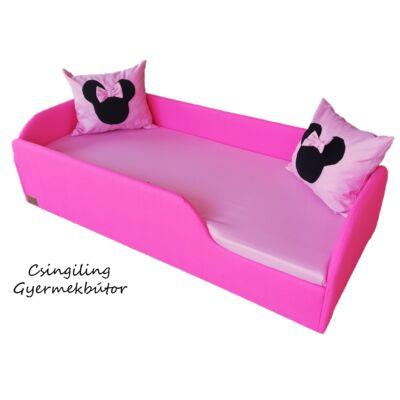 """""""WEXTRA"""" KÁRPITOS leesésgátlós gyerekágy - 63x150 cm-es fekvőfelülettel:  Pink keret - Puncs fekvővel - (Minnie fantázia párnákkal is kérhető)"""
