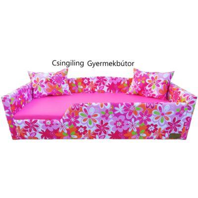 """""""WEXTRA"""" KÁRPITOS leesésgátlós gyerekágy - 83x165 cm-es fekvőfelülettel: Rózsaszín nagy virágos keret - Pink fekvővel"""