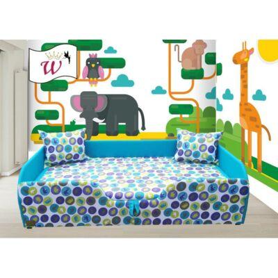 """""""WEXTRA"""" KÁRPITOS leesésgátlós gyerekágy - 63x150 cm-es fekvőfelülettel: Világoskék - Kék elefántos"""