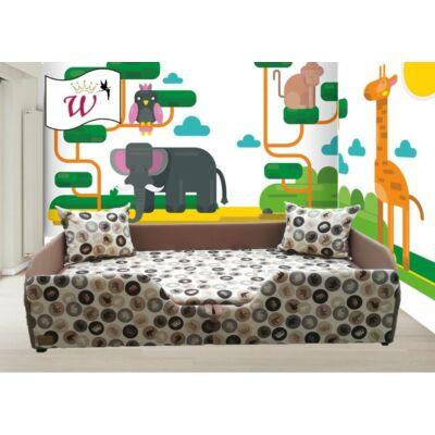 """""""WEXTRA"""" KÁRPITOS leesésgátlós gyerekágy - 63x150 cm-es fekvőfelülettel: Kávé-Barna elefántos"""