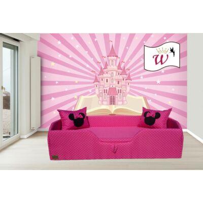 """""""WEXTRA"""" KÁRPITOS leesésgátlós gyerekágy - 63x150 cm-es fekvőfelülettel: Pink pöttyös (Minnie fantázia párnákkal is kérhető)"""