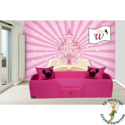 Wextra leesésgátlós kárpitos gyerekágy: pink pöttyös Minnie