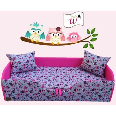 """""""WEXTRA"""" KÁRPITOS leesésgátlós gyerekágy - 63x150 cm-es fekvőfelülettel: Pink - Rózsaszín baglyos"""