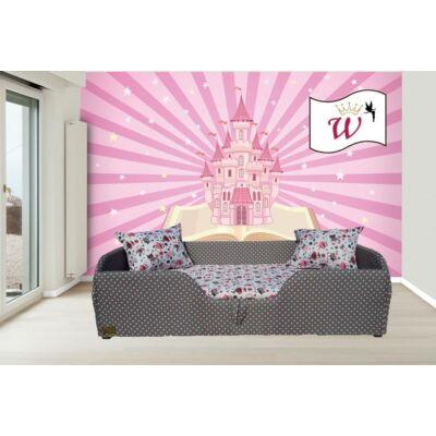 """""""WEXTRA"""" KÁRPITOS leesésgátlós gyerekágy - 63x150 cm-es fekvőfelülettel:  Szürke alapon rózsaszín pöttyös keret- rózsaszín baglyos fekvővel"""