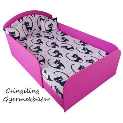 LUX- franciaágy -Pink eco bőr keret- Diamond Black Cat háttámla és fekvő