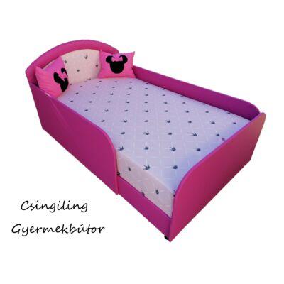 LUX- franciaágy -Pink eco bőr keret- Diamond rózsaszín chesterfield háttámla és fekvő