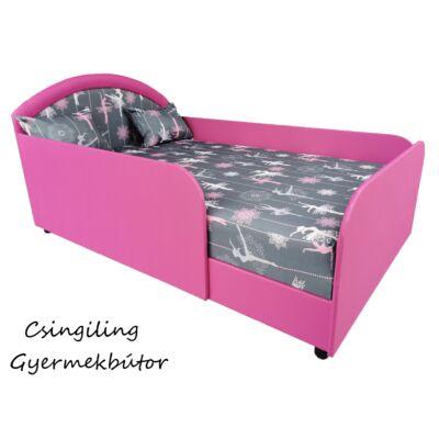 LUX- franciaágy: pink eco bőr keret - WONDERFUL BALERINA betét és fekvőfelület