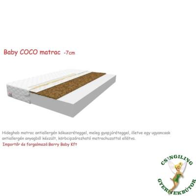 Baby COCO Hideghab matrac antiallergén kókuszréteggel, 7cm vastag - 70x140 cm-es KÉSZLETRŐL