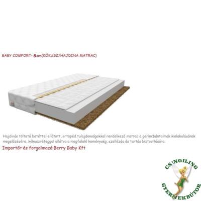 Baby COMFORT kókusz/hajdina matrac 8cm vastag - 90x180 cm-es KÉSZLETRŐL