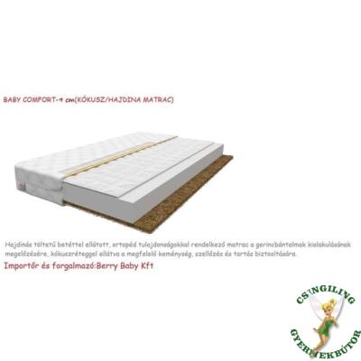 Baby COMFORT kókusz/hajdina matrac 9cm vastag - 80x180 cm-es KÉSZLETRŐL
