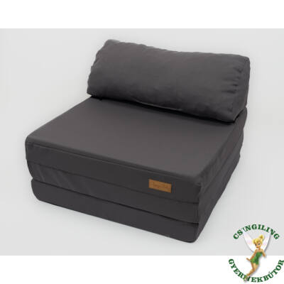 Kihajtható szivacs fotelágy/pótágy ifjúsági méretben: Grafit - 13 választható párnával KÉSZLETRŐL