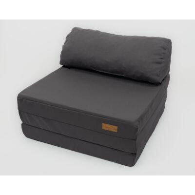 Kihajtható szivacs fotelágy/pótágy felnőtt méretben: Grafit - 13 választható párnával KÉSZLETRŐL