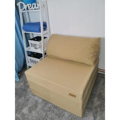 Kihajtható szivacs fotelágy/pótágy ifjúsági méretben: Sötét bézs  - 6 választható párnával KÉSZLETRŐL
