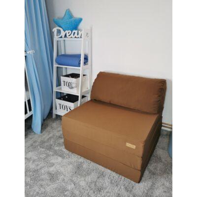 Kihajtható szivacs fotelágy/pótágy felnőtt méretben: Csokibarna KÉSZLETRŐL!!!