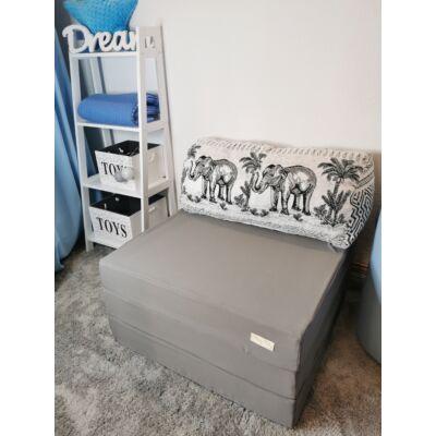 Kihajtható szivacs fotelágy/pótágy felnőtt méretben: Szürke - fekete elefántos párnával KÉSZLETRŐL!!!