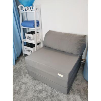 Kihajtható szivacs fotelágy/pótágy ifjúsági méretben: szürke