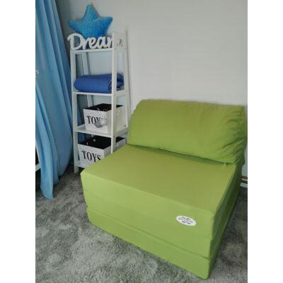 Kihajtható szivacs fotelágy/pótágy felnőtt méretben: Pisztácia KÉSZLETRŐL!!!