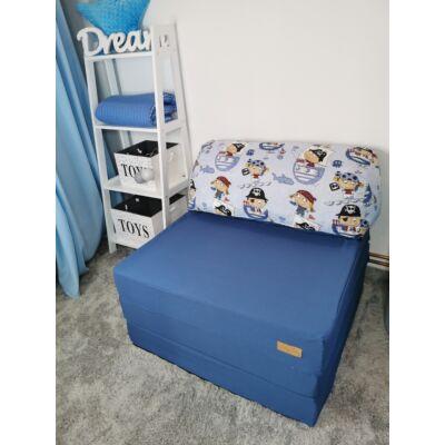 Kihajtható szivacs fotelágy/pótágy felnőtt méretben: Sötétkék - kék kalózos párnával KÉSZLETRŐL!!!