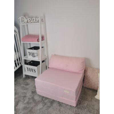 Kihajtható szivacs fotelágy/pótágy ifjúsági méretben: Púder rózsaszín - 12 választható párnával KÉSZLETRŐL!!!