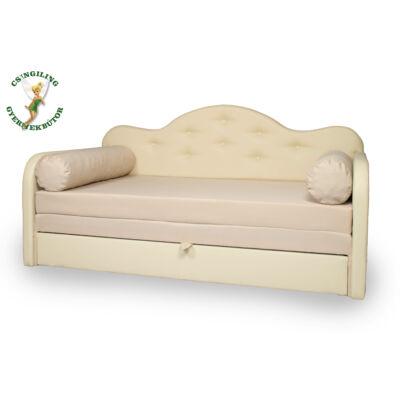 Romantic kanapéágy: beige eco bőr keret - diamond beige fekvő