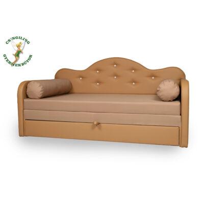 Romantic kanapéágy: caramel eco bőr keret - diamond kávé fekvő