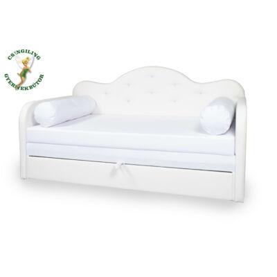 Romantic kanapéágy: fehér eco bőr keret - wextra fehér fekvő