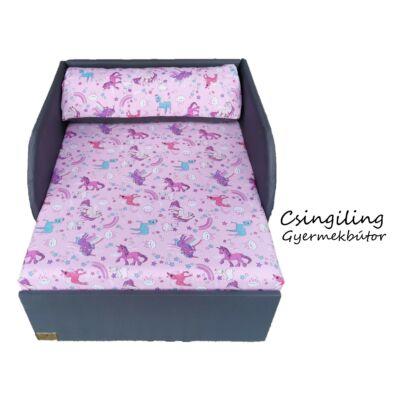 """""""SUNSHINE"""" kollekció - RORI kárpitos fotelágy: Szürke - rózsaszín pónis"""