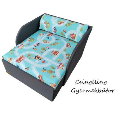 Rori Sunshine ágyneműtartós kárpitos fotelágy: szürke türkiz kisautós
