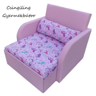 Rori Sunshine ágyneműtartós kárpitos fotelágy: rózsaszín unikornis