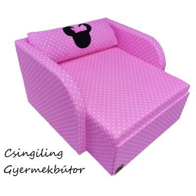"""""""SUNSHINE"""" kollekció - RORI kárpitos fotelágy: Középrózsaszín pöttyös (Minnie fantázia dizájn párnával is kérhető)"""