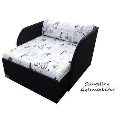 Rori Sunshine ágyneműtartós kárpitos fotelágy: fekete piros girls