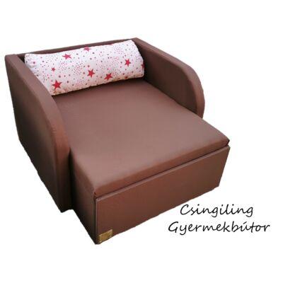 """""""WEXTRA"""" kollekció - RORI kárpitos fotelágy: Csokibarna  (piros csillagos dizájn párnával kérhető)"""