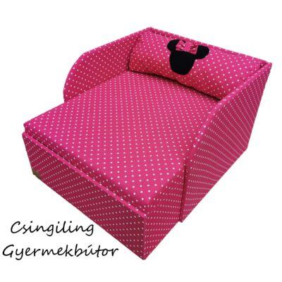 """""""SUNSHINE"""" kollekció - RORI kárpitos fotelágy: Pink pöttyös (Minnie fantázia dizájn párnával is kérhető)"""