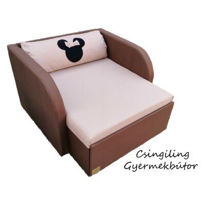"""""""WEXTRA"""" kollekció - RORI kárpitos fotelágy: Csoki - kávé  (Minnie fantázia dizájn párnával is kérhető)"""