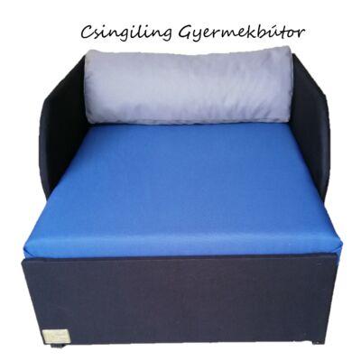"""""""SUNSHINE"""" kollekció - RORI kárpitos fotelágy: Fekete - királykék - (szürke dizájn párna kérhető hozzá)"""