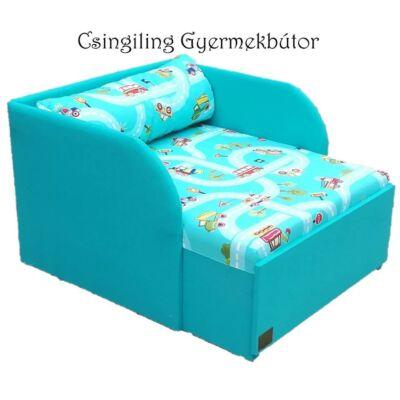 Rori Sunshine ágyneműtartós kárpitos fotelágy: türkiz kisautós