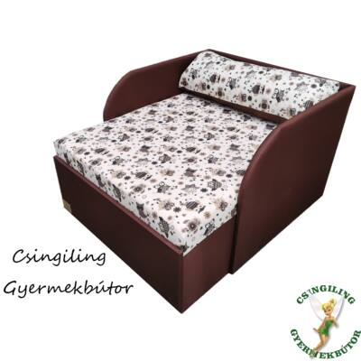 Rori Wextra ágyneműtartós kárpitos fotelágy: csoki barna baglyos
