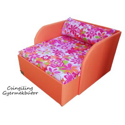 """""""WEXTRA"""" kollekció - RORI kárpitos fotelágy: Narancssárga - nagy virágos"""