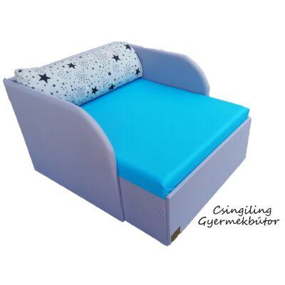 Rori Wextra ágyneműtartós kárpitos fotelágy: szürke világoskék kék csillagos
