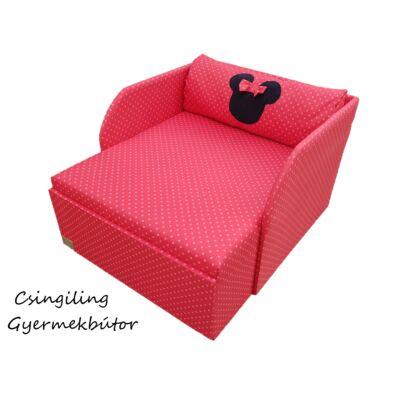 """""""WEXTRA"""" kollekció - RORI kárpitos fotelágy: Piros pöttyös (Minnie fantázia dizájn párnával is kérhető)"""
