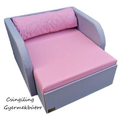 Rori Wextra ágyneműtartós kárpitos fotelágy: szürke rózsaszín fekvő