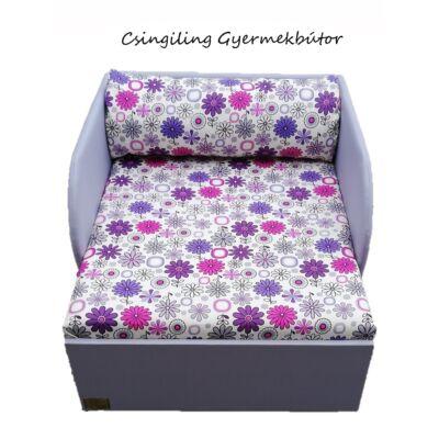 Rori Wextra ágyneműtartós kárpitos fotelágy: szürke lila virágos